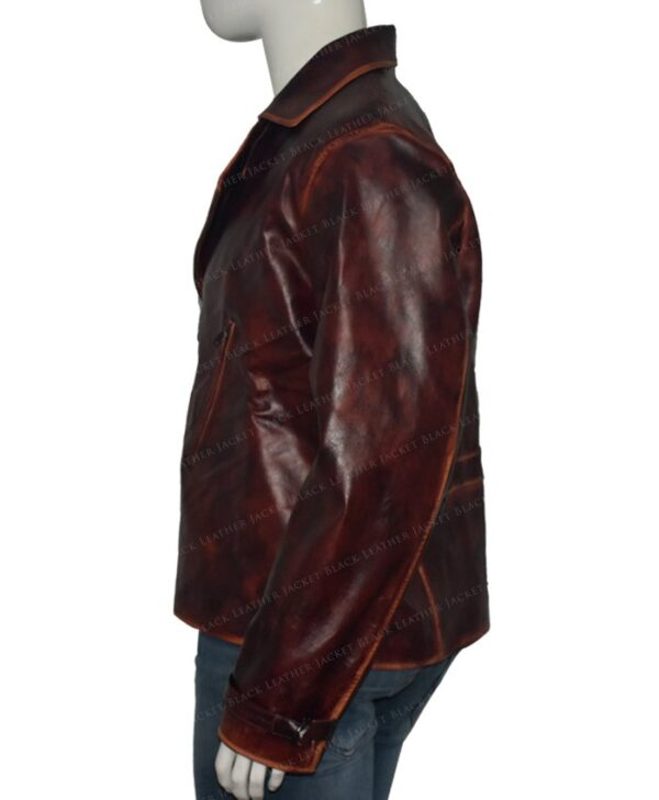Captain America Brown Real Leather Jacket The First Avengers Distressed Left Side