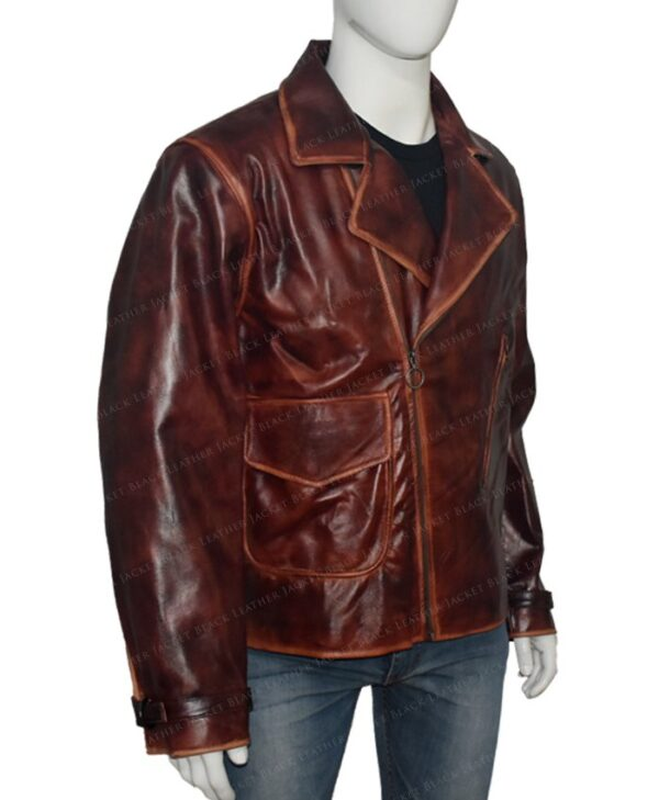 Captain America Brown Real Leather Jacket The First Avengers Distressed Right Side