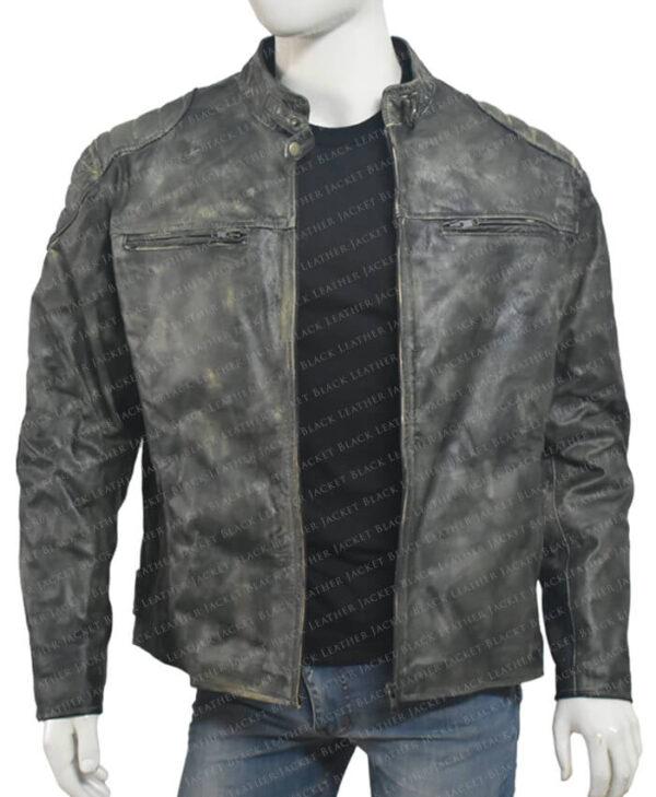Distressed Leather Hooligan Jacket main opn