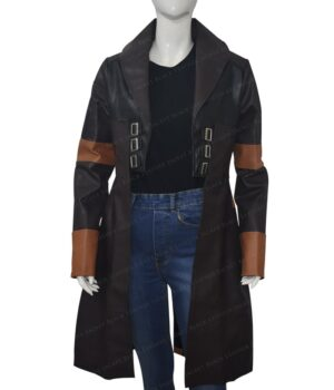 Guardians Of The Galaxy Vol 2 Gamora Brown Leather Coat Front