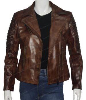 Slim Fit Waxed Brown Women Real Leather Biker Jacket