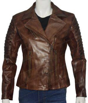 Slim Fit Waxed Brown Women Real Leather Biker Jacket Front Look