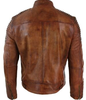 brown leather jacket Distressed cafe racer Vintage Motorcycle
