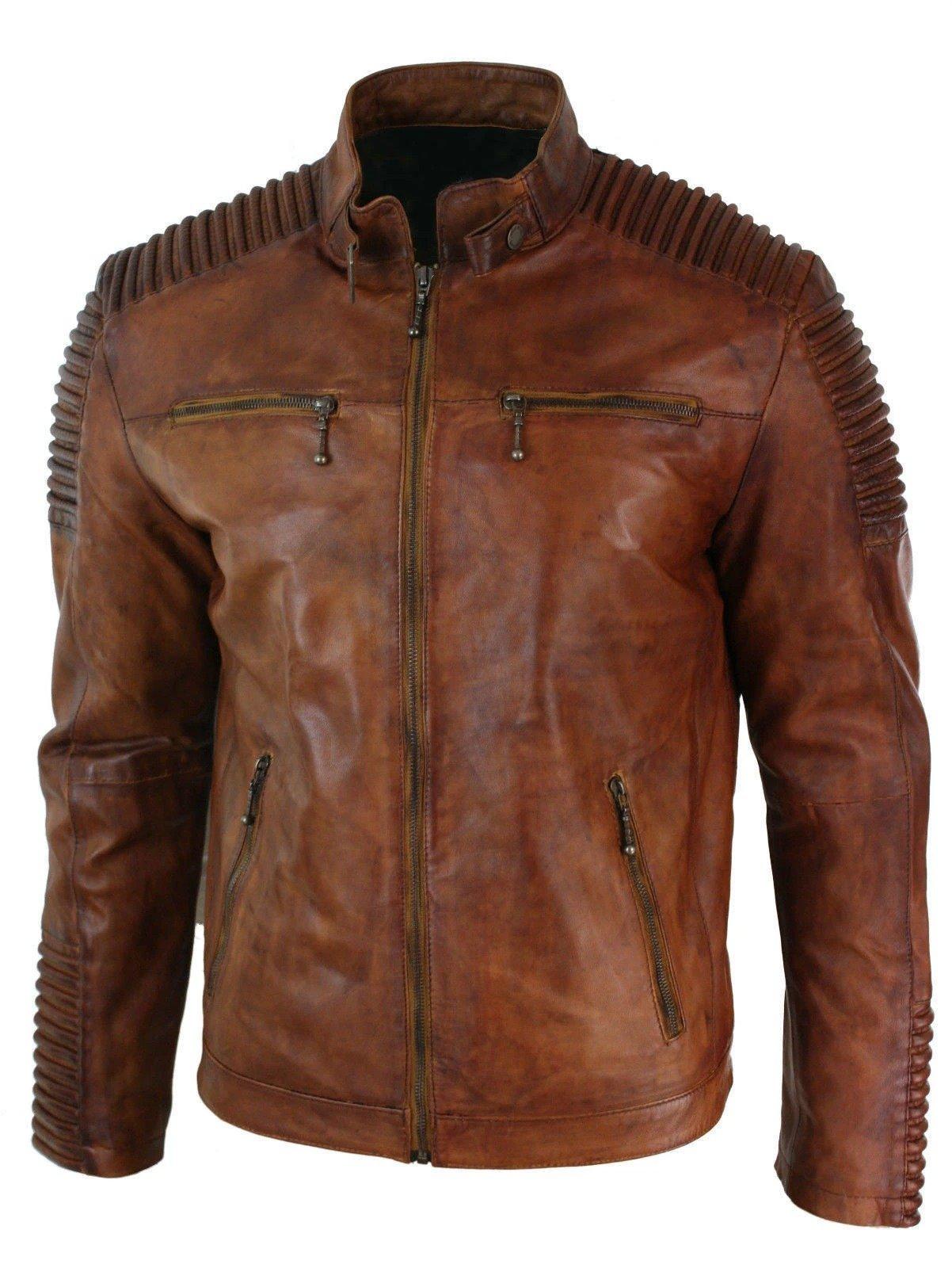 brown leather jacket Distressed cafe racer Vintage ...