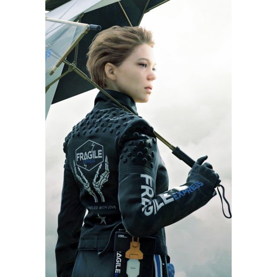 Léa Seydoux Video Game Death Stranding Black Leather Jacket
