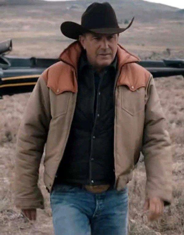 John Dutton Brown Cotton Jacket TV Series Yellowstone