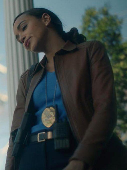 Ashley Madekwe The Umbrella Academy Brown Leather Jacket