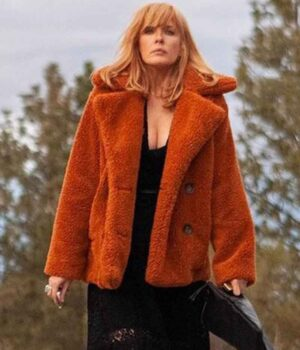 Kelly Reilly Fur Orange Coat