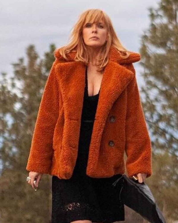 Kelly Reilly Fur Orange Coat