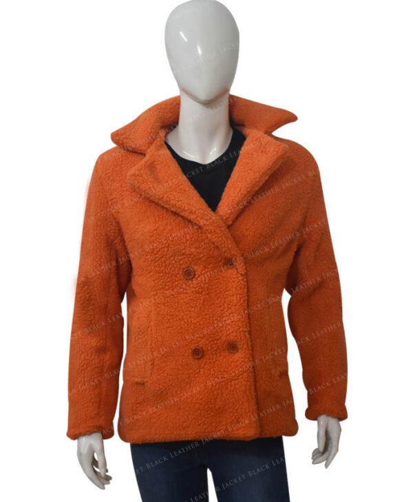 Yellowstone Beth Dutton Orange Shearling Coat Front