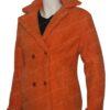 Yellowstone Beth Dutton Orange Shearling Coat Left