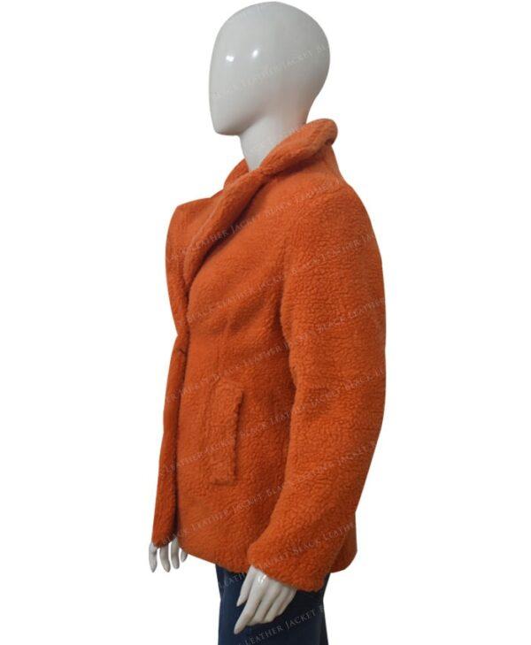 Yellowstone Beth Dutton Orange Shearling Coat Left Side