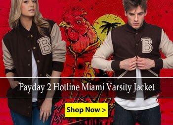 Payday-2-Hotline-Miami-Varsity-Jacket Leather Jacket Black