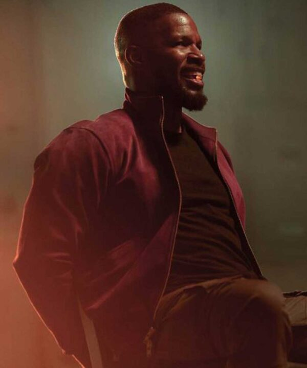 Project Power Jamie Foxx Red Leather Jacket
