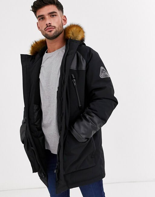 Black parka Leather Jacket