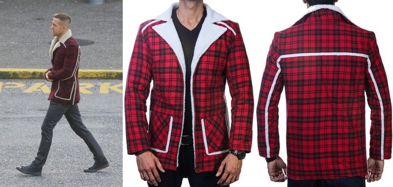 Red Flannel Shearling Jacket