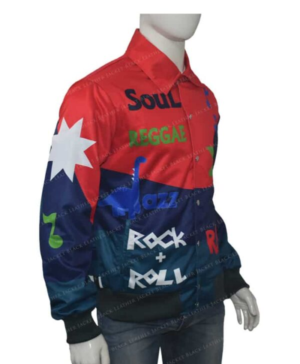 Kid Cudi The Music Printed Leather Jacket Left