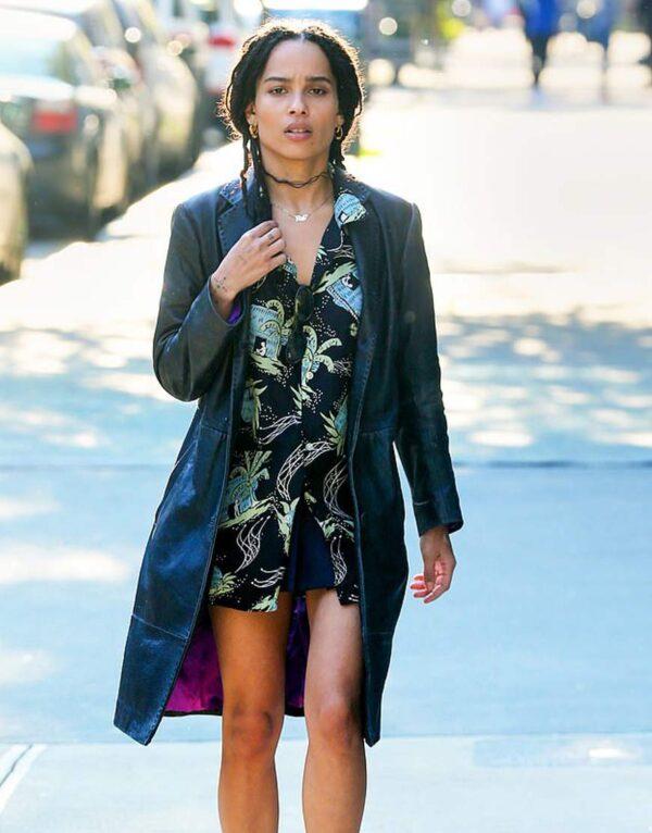 Zoe Kravitz Black Leather Coat