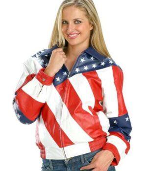 Womens American Flag Style Biker Jacket