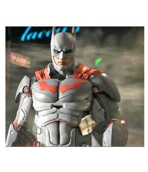 Batman Red Logo Grey Leather Jacket