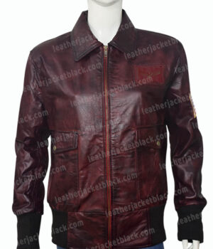 Captain Marvel Brown Leather Jacket Front