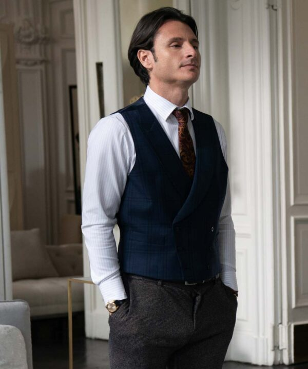 Charles Martins Blue Double-Breasted Vest