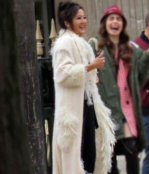 Mindy Chen Emily In Paris Long Fur Coat