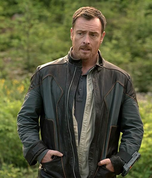 Toby Stephens Lost In Space John Robinson Black Leather Jacket