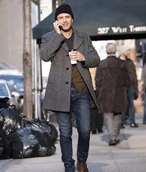 Colin Woodell Grey Wool Coat
