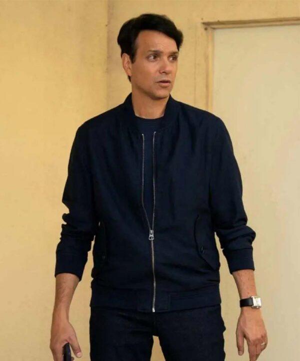 Ralph Macchio Blue Bomber Jacket
