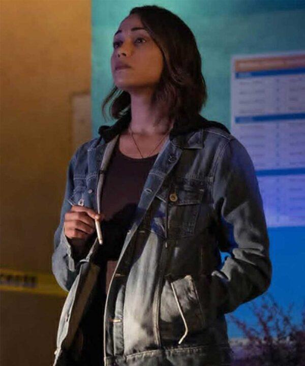 Jackie Quiñones Hightown Monica Raymund Blue Denim Jacket