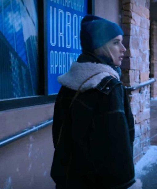 Emma Roberts Black Shearling Jacket
