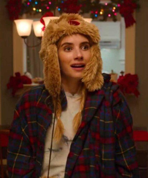 Emma Roberts Checkered Plaid Coat