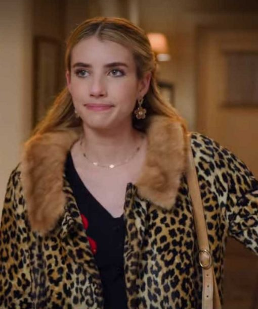 Emma Roberts pard Print Coat with Fur Collar