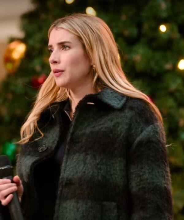 Emma Roberts Plaid Check Coat