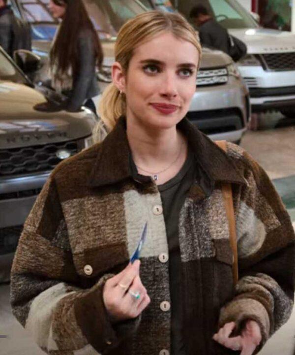 Emma Roberts Brown Plaid Check Jacket