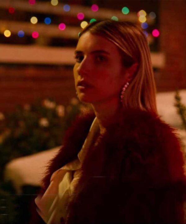 Holidate Emma Roberts Red Fur Coat