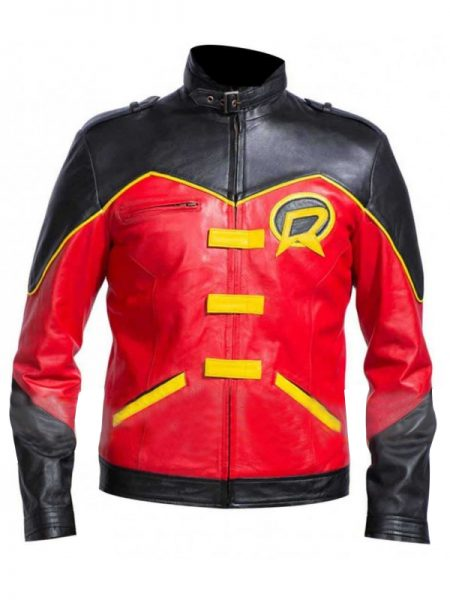 Tim Drake Red And Black leather Jacket