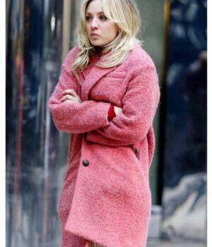 Kaley Cuoco Pink Trench Coat