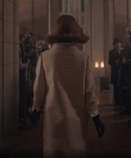 The Queens Gambit Anya Taylor-Joy White Checkered Coat