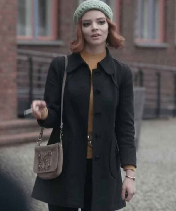 Anya Taylor-Joy Black Cotton Coat