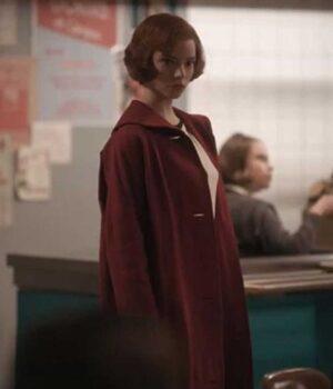 The Queens Gambit Anya Taylor-Joy Red Long Coat