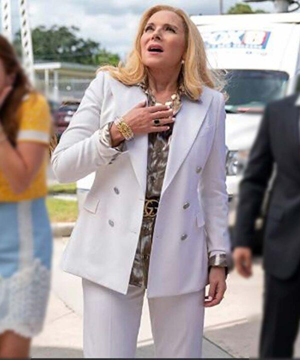 Kim Cattrall White Coat