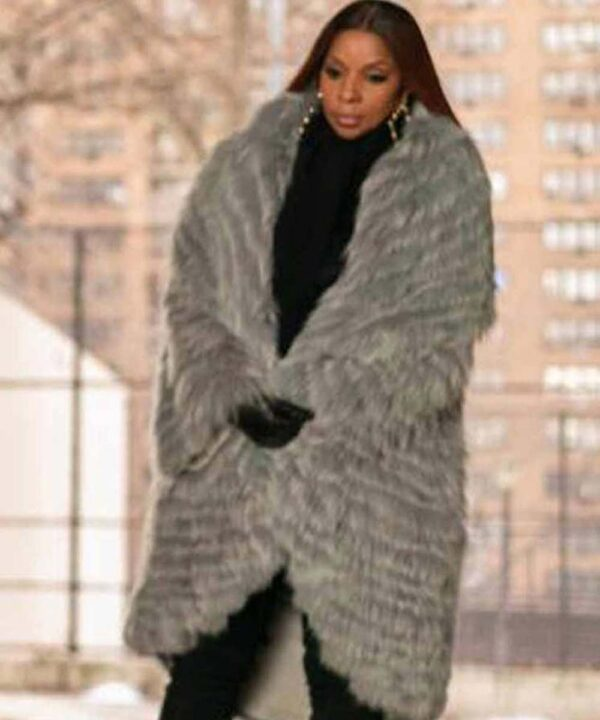 Mary J. Blige Grey Fur Long Coat