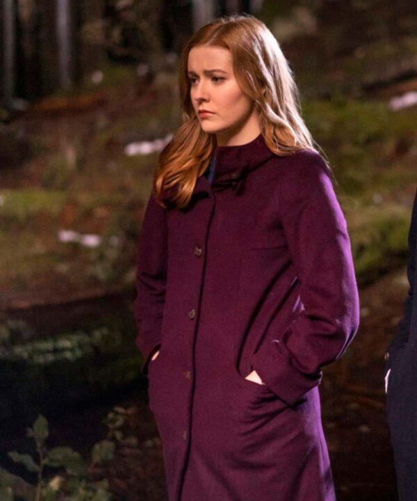 Kennedy McMann Nancy Drew Maroon Wool Coat