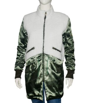 The Equalizer Robyn McCall Green and White Shearling Coat