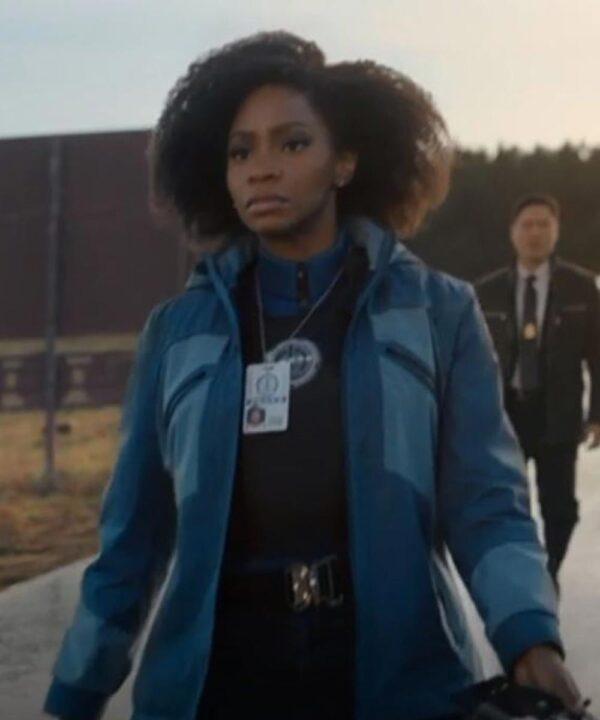 Teyonah Parris Blue Hooded Jacket