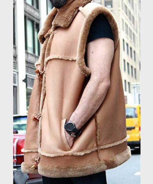 Alexander Camel Brown Shearling Fur Vest Pockets