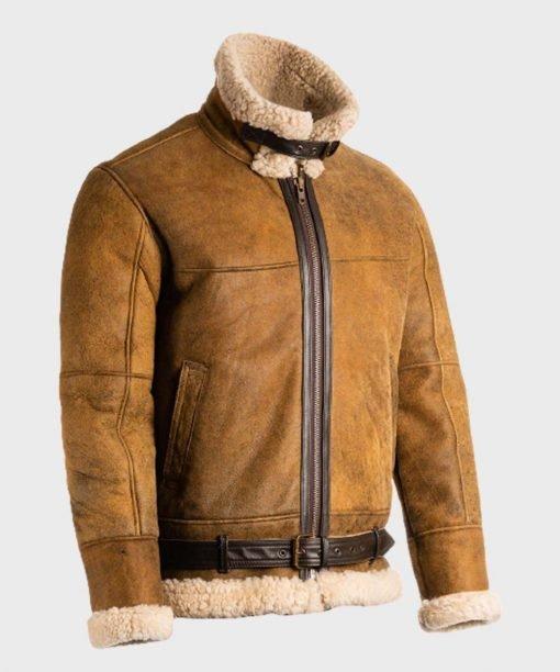 Mens Sheepskin Brown B3 Leather Jacket