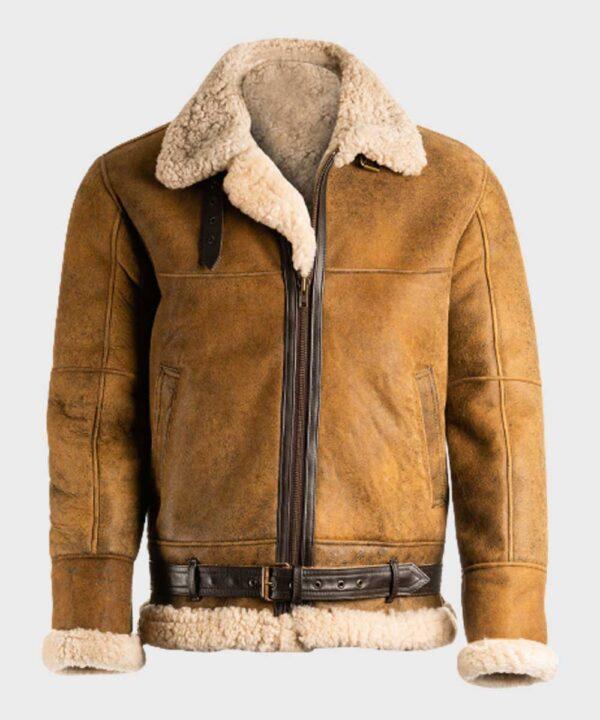 Avaitor Mens Brown Sheepskin Shearling B3 Leather Jacket